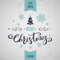 Merry Christmas greeting card. Holiday lettering design