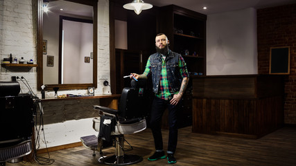 Mens hairdresser at workplace in the Barber shop