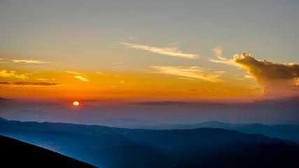 Beautiful Sunset Over Rila Mountain, Bulgaria