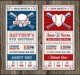 Vector Vertical Baseball Invitation