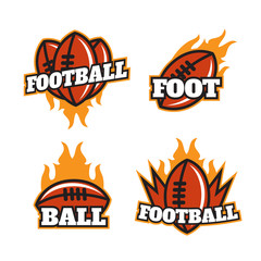 Set of colorful college american football logo