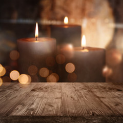 Background with burning candles