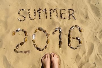 Inscription on sand Summer 2016 of shells. Concept photo of summ