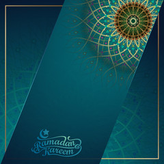 Ramadan Kareem greeting card template with mandala geometric pattern