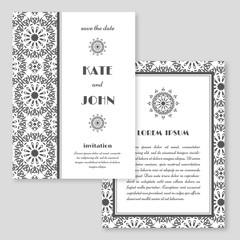 Wedding invitation, greeting card with mandala pattern. Save the