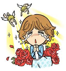 感動の涙を流す女性