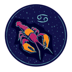Zodiac sign Cancer on night starry sky background.
