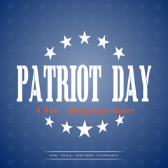 Patriot Day vector poster on a gradient blue background with stars and text.