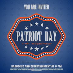 You are invited on Patriot Day vector poster on a blue background with label and stars.