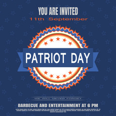 You are invited on Patriot Day vector poster on a blue background with stars.