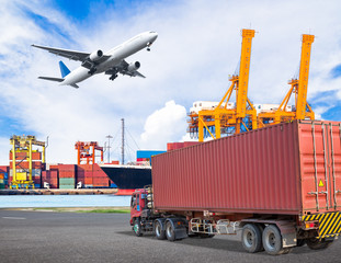 Truck transport container and cago plane flying above ship port