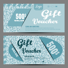Vector image of voucher on the light turquoise background with floral pattern.