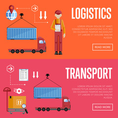 Logistic and transportation banners set of delivery process, isolated vector illustration. Truck and porters.