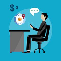 Project management business multitasking concept flat vector