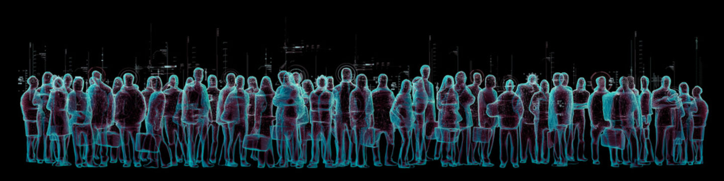 Virtual reality crowd panorama / 3D illustration of simulated crowd of people and virtual data