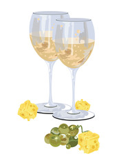 Glasses of white wine with grapes and piece of cheese. Food background Vector