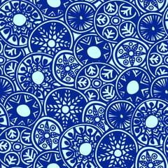 Seamless boho pattern made of decorative round elements