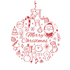 Merry Christmas post card template. Vector illustration.