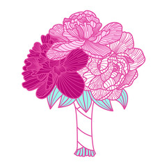 Wedding bouquet illustration made of peonies