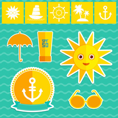 Set of summer vacation beach. Umbrella sun ship sailing sunglasses cream anchor steering wheel island, palm trees. Yellow Green Orange on blue background. Vector