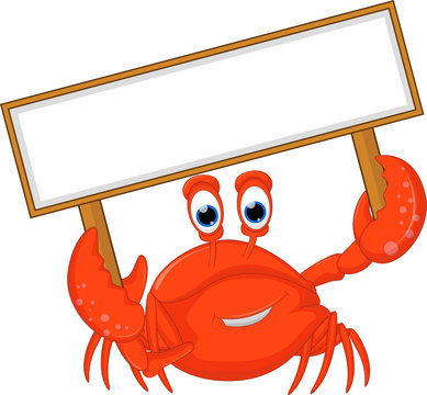 crabs cartoon with blank sign