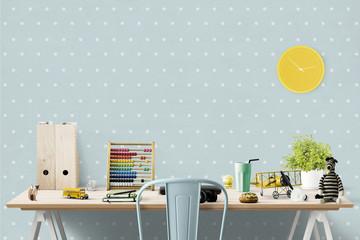 Schreibtisch für Jungs im Kinderzimmer mit Spielsachen - Textfreiraum
