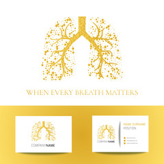 Medical business card template with lungs filled with air bubbles on white background. Gold vector lungs logo graphic design for pulmonary clinics and medical centers.