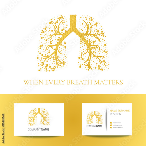 Medical business card template with lungs filled with air bubbles on ...