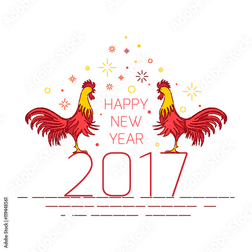 Chinese New Year 2017 Rooster Design Template On White Background