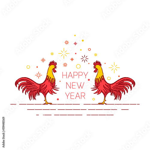 chinese new year rooster celebration design template on white background greeting card with red cocks symbol of 2017