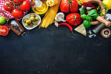Italian food ingredients on slate background Fotomurales