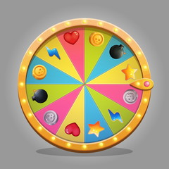 Shiny wheel of fortune design element for game ui and graphic design. A set of icons with gifts is included in a set. Sparkling lamps and multicolored wheeel board.