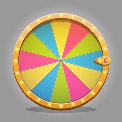 Shiny wheel of fortune design element for game ui and graphic design. Sparkling lamps and multicolored wheeel board.