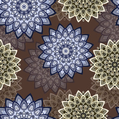Mandala seamless pattern. East, ethnic design, oriental , round ornament. For use in fabric decor,  , print, wallpaper, wrapping