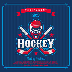 Hockey badge, logo, emblem tournament in vintage retro style template.