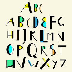 Vector cute english alphabet vintage style.