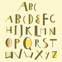 Vector english uppercase alphabet with uneven vintage style letters.