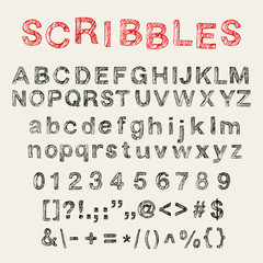 Hand drawn english uppercase and lowercase, numbers and signs.