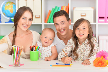 Portrait of happy family painting
