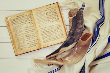 Prayer Shawl - Tallit and Shofar (horn) jewish religious symbol