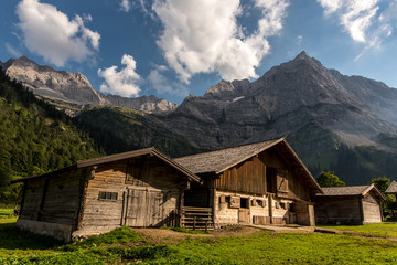 Farmhouses in the Tyrolean mountains at Grosser Ahornboden
