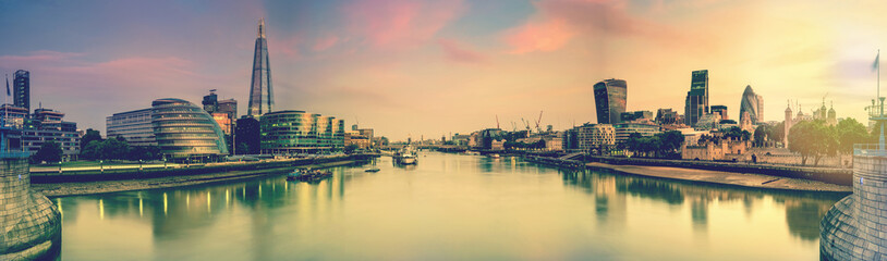 London panoramic toned picture from Tower Bridge