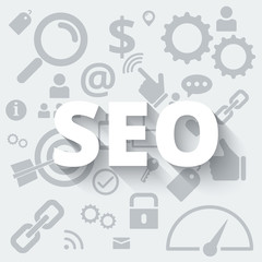 White SEO  service concept with icons