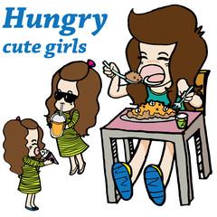 Hungry girl vector character