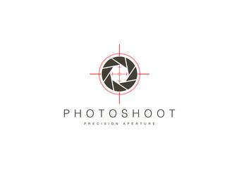 Photo Camera Hunt Theme Logo Template Design