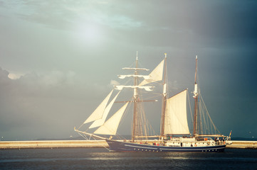 Yacht sailing on the calm baltic