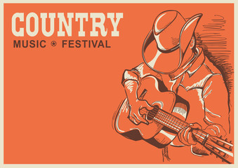 American country music festival poster with musician playing gui