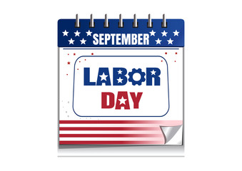 Labor Day calendar. Calendar painted in the colors of the US flag isolated on white background