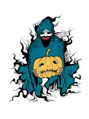 Evil of halloween hand draw vector cartoon illustration