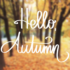Handmade vector calligraphy and text Hello autumn